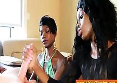 Several nubian handjob babes wank blanched gay blade