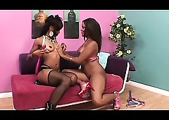 Earthy ebonies grinding pussy together with parcelling toys