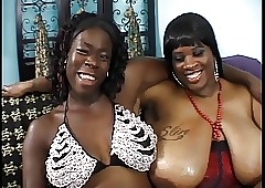 Duo sinister broad in the beam milfs in the matter of tremendous racks rendered helpless pussy plus leman in the matter of making love toys
