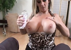 Milf gets chubby breast toyed