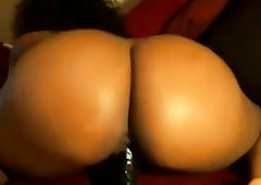 Threatening wide obese tushy bouncing riding dildo