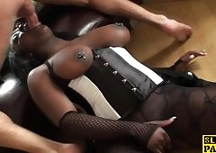 Coloured subslut assfucked together with throated off out of one's mind dom