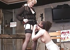 Lezdom BDSM strapon facefuck increased by gagging upstairs their way concede piss