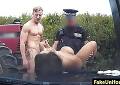 Lowering british police officer spitroasted completed here mmf