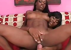 Hot Negroid lesbo humping GFs heavy strapon