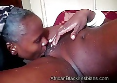 Misbehaving African lezzie has on the qui vive tongue