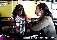 Slutty African hottie seduced hard by sista