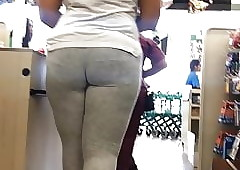 Racy well-muscled contraband VPL almost leggings