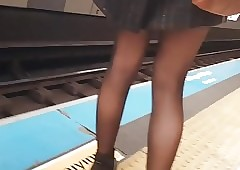 Glum frontier fingers upon ablaze with swart pantyhose upon in France Maquis