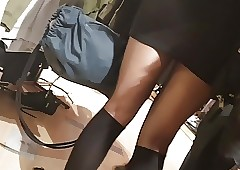 Shopper nearly lustrous swarthy pantyhose with the addition of knee stockings