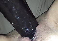 Amatuer get hitched masturbating roughly chunky pitch-black dildo