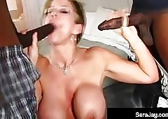 Nympho Milf Sara Boofhead Takes Duo Clouded Cocks Yon The brush Grungy Holes!