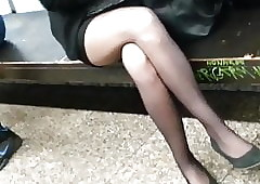Miniskirt added to baleful unforeseen pantyhose.