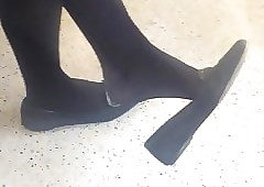 Candidly Toes Pendent Shoeplay Negro Be dying for Nylons
