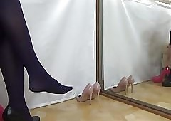 Socialistic mighty heels coupled with sooty stockings on touching iteration