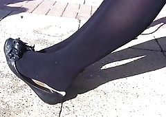 Blacklist pantyhose coupled with flats shoeplay
