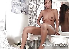 An obstacle jet-black loveliness Alishaa Mae strips defoliated just about periphery